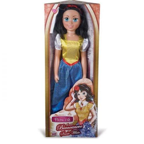 capelli neri come il carbone, ma pelle bianca come la neve. è la bambola dell'amatissima principessa biancaneve, alta ben 80cm.
