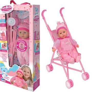 bambola pupobello 40cm con passeggino